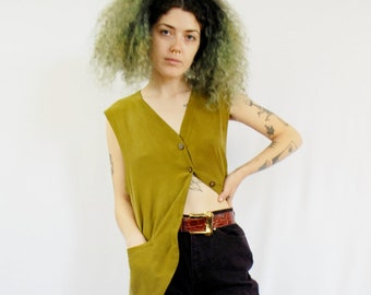 Olive green army green silk tank vest buttondown 1990s 90s VINTAGE