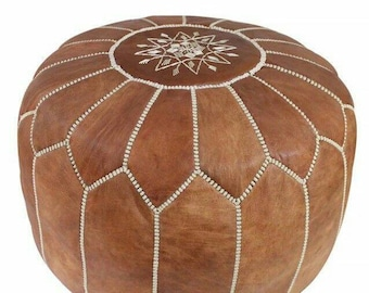 Leather Brown Footstool Pouffe With Top Embroidery