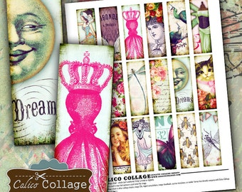 Fanciful, Collage Sheet, 1x3 Collage Sheet, Microslides Images, Printable Ephemera, 1x3 Images, Whimsical Images, 1x3 Digital Images