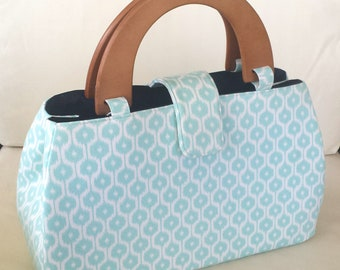 The Lucy Handbag - Blue and White