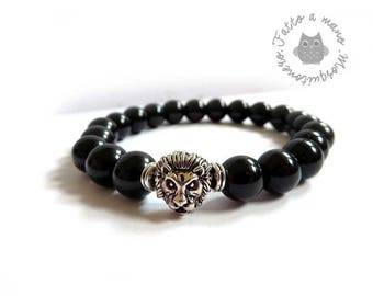 Men's bracelet, lion's head, metal, black glass pearls, 1 cm, for him, Lion head,