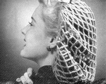 INSTANT DOWNLOAD 1943 Perky Snood Vintage Crochet Pattern PDF 010