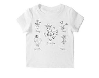 Toddler Girl Tshirt, Floral Kids Shirt, Modern Kids Clothes, Kids Graphic Tee, Toddler Clothes, Hipster Kids Clothes, Baby Girl Shirt