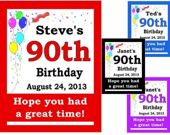 15 ~ 90th Birthday Party Favors Personalized MAGNETS ~ FREE SHIPPING