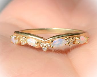 Opal Shadow Band Curved Diamond Contour Tracer Eternity Band Opal Solitaire Wrap Guard Diamond Opal Enhancer Ring Diamond Crown Matching 14K