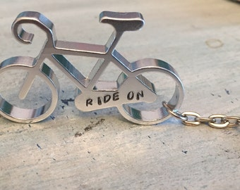 Personalized Bike Keychain. Bicycle keychain. Gift for cyclist. Bottle opener. Stamped keychain. Biker Gift. Gift for her. Gift for him