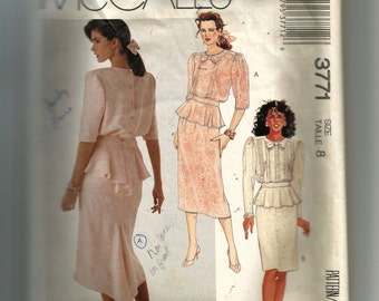McCall's Misses' Two Piece Dress Pattern 3771