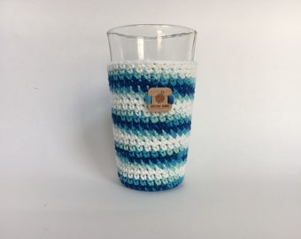 Pint Glass Cozy, Sky Ombre - beer cozy -  drinking glass cozy - cold cup cozy - pint glass sleeve - crochet cup sleeve - crochet gifts