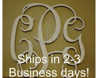 12 inch Vine Connected Wood Monogram Fast Ship - Wedding, Home, Nursery, Letters