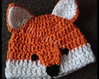 Crochet baby Fox hat