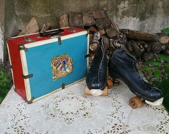 Vintage Mens Roller Skates Size 12 Chicago Roller Skate Company with Carry Case