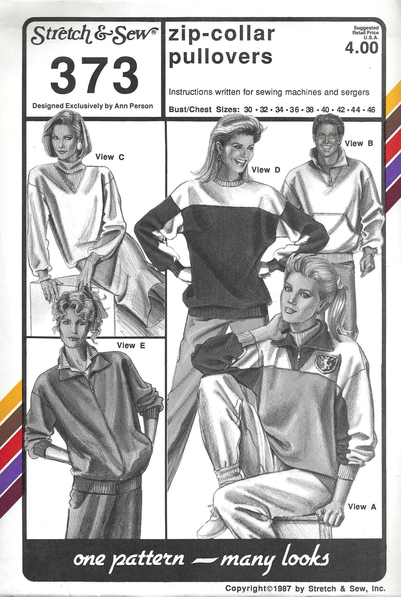 Strecke & Nähen 373 Nähen Muster Damen Zip-Kragen Pullover