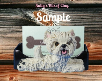 Westie White West Highland Terrier Dog Business Card Holder / Iphone / Cell phone / Post it Notes OOAK sculpture by Sally's Bits of Clay