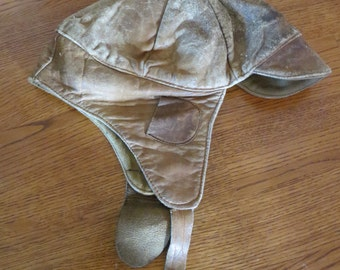 Vintage Well Worn Soft Leather Aviator Pilot Hat