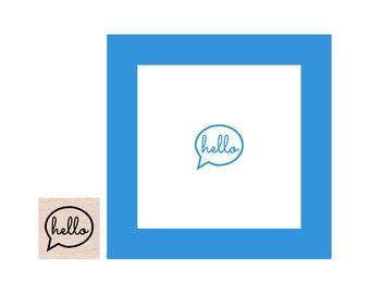 Mini Hello Callout Rubber Stamp