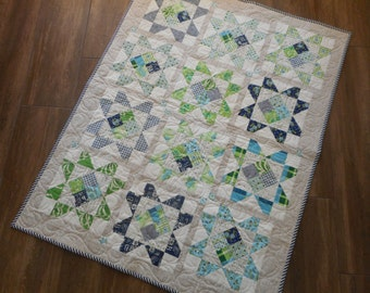 """Lap Quilt--baby quilt, green and blue, 37"""" x 48"""""""