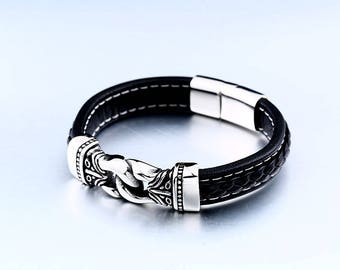 Beautiful bracelet Scandinavian 316 L stainless steel viking and leather size and style choice