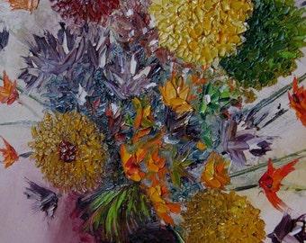 Rare Vintage Palette Painting Original 1960s Impressionist by the late Palette Knife Artist Robert Lebron (1928-2013)