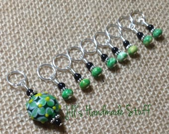 Green Floral Knitting Stitch Marker Set, Snag Free Gift for Knitters