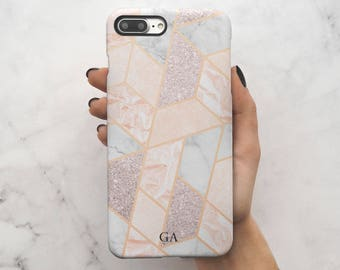 Geometric Marble Mosaic Personalized Name Custom Initials Gift For Him Or Her Protective Hard Case Cover For iPhone 7 iPhone 8 | C131