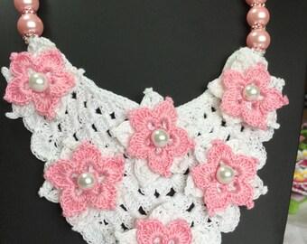 "Bridal Crochet Necklace ""Luisa"", Vintage Bridal Necklace, Unique piece of Irish Crochet Jewelry"