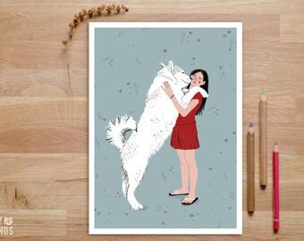 Girl and Dog Print, Dog Mom Print, Dog Mom Gifts, Dog Lover Gift, Dog Illustration, Dog Art Prints, Dog Hug, Dog and Mom, Dog and Owner Gift