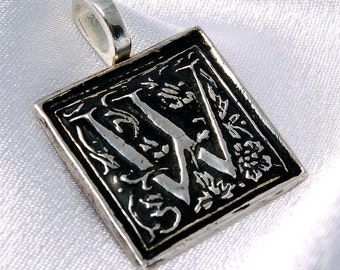 Clearance- W is for Wonderful - Donatienne - recycled silver initial pendant