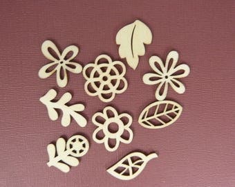 Wooden subjects embellishment: leaves and flowers