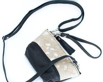 Mini Leather Purse - Metallic Silver Tan Cowhide - Converts to a Wristlet - Crossbody Bag - Black leather - Clutch - Cowhide Bag
