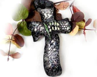 black and white cross - wall cross decor - handmade wall cross - ceramic cross ,  Christian gift, clay cross, First Communion Gift # 99