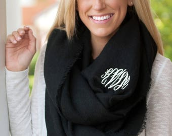 Monogrammed Infinity Scarf | Solid Color Scarf | Navy, Cream, or Black Scarf | Gift for Her | Personalized Gift
