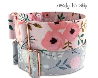 floral dog collar, rose gold hardware, 2 inch martingale collar, blush, roses, watercolor flowers, floral dog collar, girl dog collar, sz L