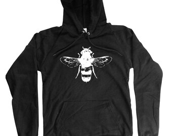 Bee Hoodie - Organic Cotton Hoodie - Long Sleeve Bee Illustration - Small, Medium, Large, XL, 2XL