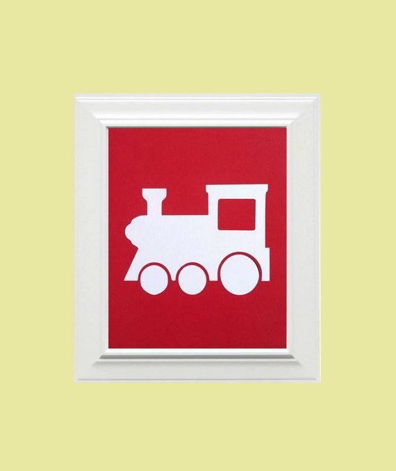 Custom Personalized Train Picture, Children's Wall Art, Kid's Wall Art, Nursery Wall Art, Train Wall Art-Red, White