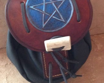 Handmade Leather Sporran Bag with Pentagram, Outer Antler Closure, Genuine Cowhide, Brown Kilt Bag with  Pouch for Your Highlander Great