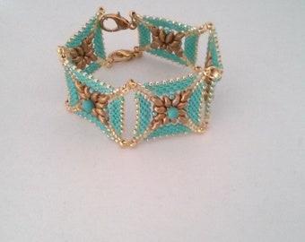 Turquoise bracelet peyote bracelet bracelet with turqoise band bracelet modular bracelet wide bracelet  elegant bracelet  bracelet