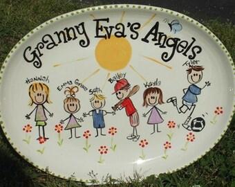 Grandparent family platter plate pottery