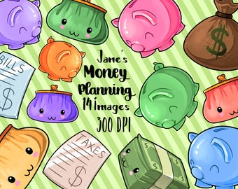 Kawaii Money Clipart - Financial Planner Download - Kawaii Design Download - Piggy Banks, Money Bag, Dollars, Bills, Taxes, and Coin Purse