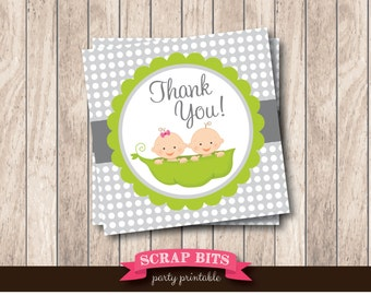 Instant Download . Printable Twin Tags, Twins Boy & Girl Peas in a Pod Printable Thank You Tags, Printable Baby Shower Favor Tags