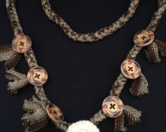 Crochet Necklace with buttons