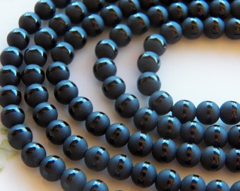 6mm Black Onyx Frosted Striped Round Gemstone Beads, Full Strand (IND2C16)