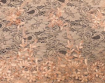 Mia PEACH Floral Sequined Corded Vine Embroidered Scalloped Edge Lace Fabric by the Yard - SKU 1008