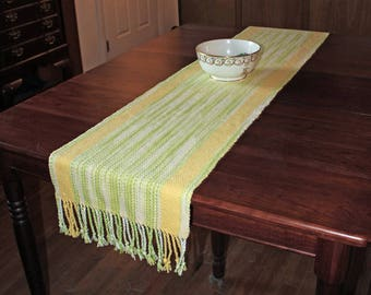 Daisy Garden TABLE RUNNER - handwoven in cotton