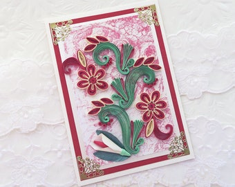 Free Shipping, Paper Quilling Card , Birthday , Paper Quilled Crimson Flowers,Mom Wife,Mothers Day,Thinking of You , Quilling Floral Art