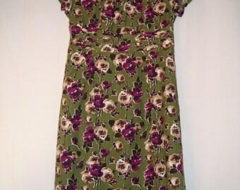 Green Flowered Short Sleeve Dress -SALE-