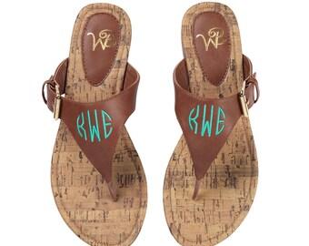 Monogrammed Sandals / Monogrammed Flip Flops / Leather Sandals
