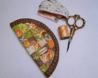 Patchwork Needle Book with Snap Closure and Scissors Loop