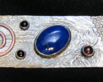 Artisan Handcrafted Modernist Brooch with Lapis, Garnet and Onyx