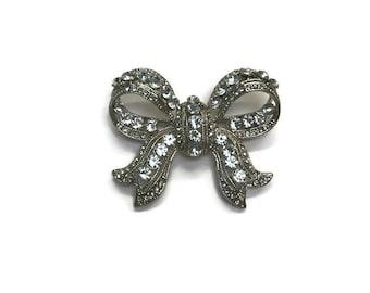 Vintage Rhinestone Bow Brooch, 1950s Ribbon Bow Pin, Costume Jewelry