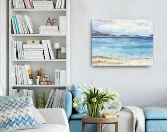 Watercolor Ocean Painting Abstract Canvas Print - Aqua Teal Blue Sea Coastal Beach Giclee Art Print - 8x10/11x14/12x16/16x20 - Cedar Springs